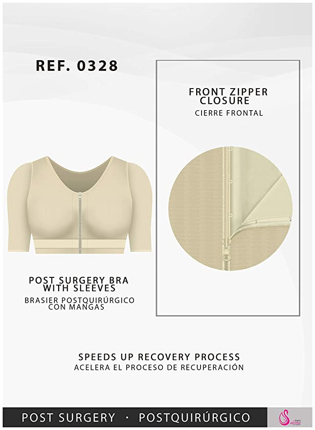 5ab858328e734 Fajas Salome 0328-3 Front Closure Post Surgery Support Bra w Sleeve Arm  Shaper  Amazon.ca  Clothing   Accessories