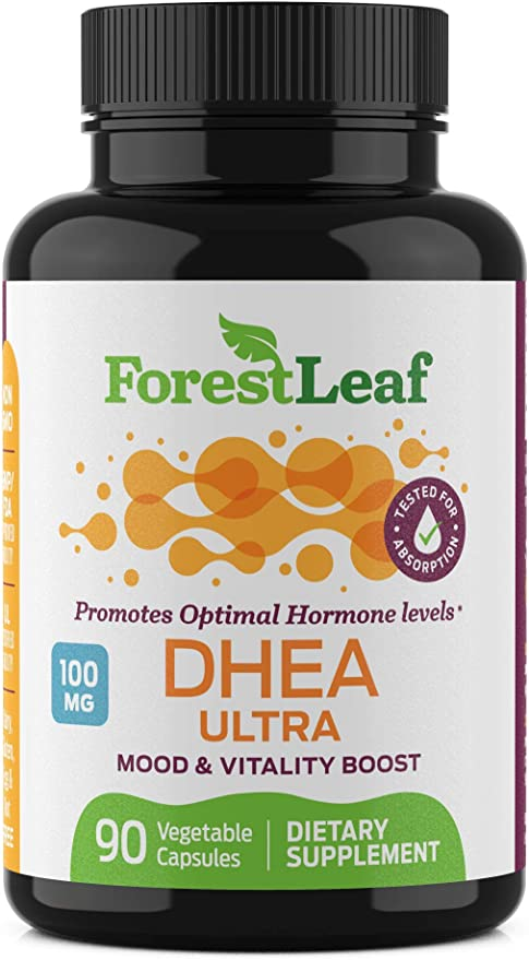 DHEA 100mg Daily Supplement for Men and Women – Promotes Optimal Hormone Level - Mood, Vitality and Physical Performance Boost - 90 Vegetable Capsules – by ForestLeaf