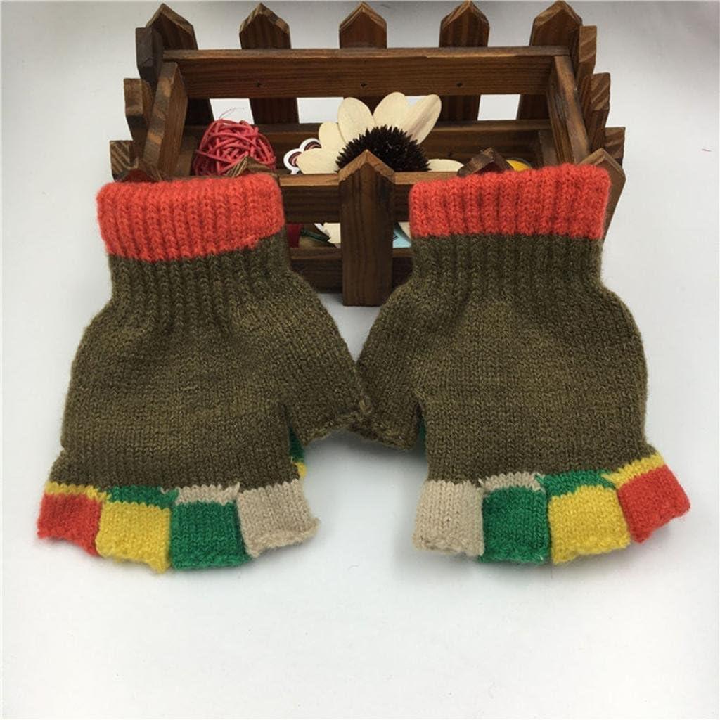 Muium Winter Warm Gloves Toddler Infant Baby Girls Boys Thicken Patchwork Hot Gloves For 2-6 Years old Khaki