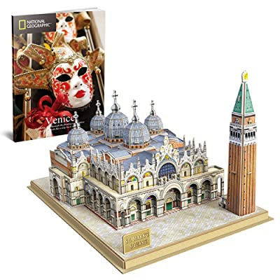 CubicFun 3D Italy Puzzles Models Architecture Kits for Adults and Kids,with National Geographic Booklet for Venice St.Mark's Square: Toys & Games