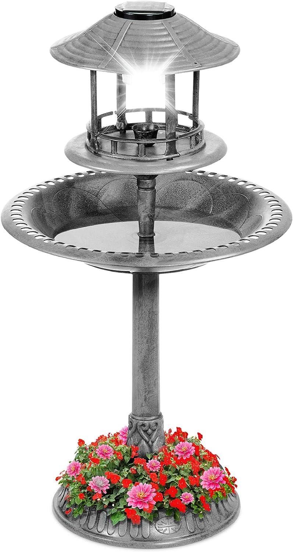 Best Choice Products Solar Outdoor Bird Bath Vintage Resin Pedestal Fountain Decoration for Yard, Garden w/Planter Base, Feeder, Decorative Bird Cage, Fillable Stand - Stone