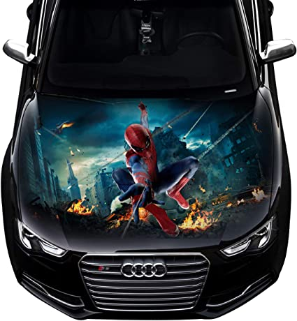 Spiderman Car Hood Wrap Full Color Vinyl Sticker Decal Fit Any Car