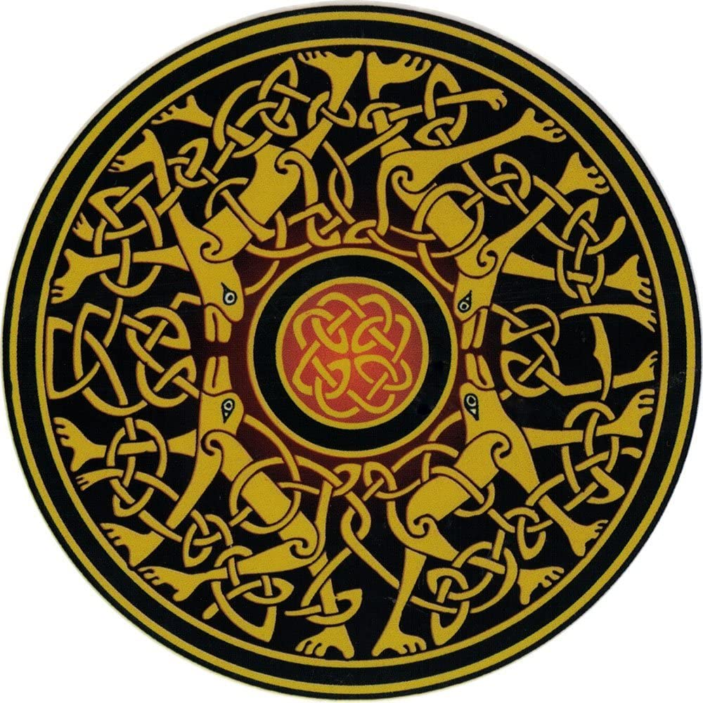4.5 Circular Happylife Productions Celtic Dogs Window Sticker//Decal