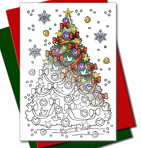 Children Christmas Cards.Art Eclect Coloring Christmas Cards For Adults And Children To Color 10 Cards With 5 Red And 5 Green Envelopes Included Christmas Set C2