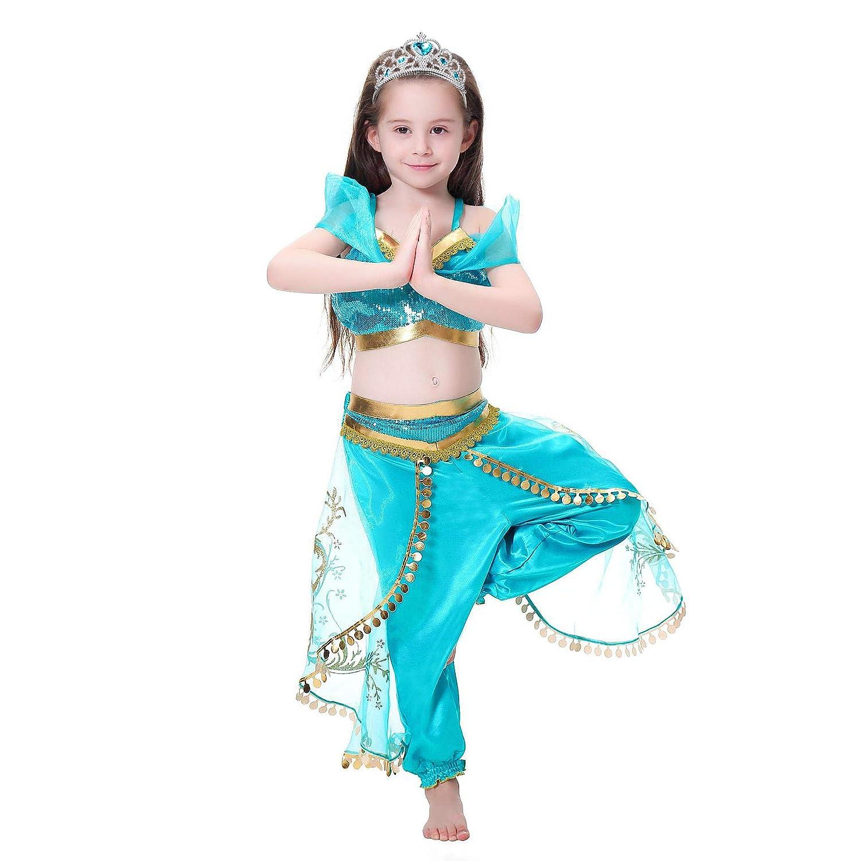 Tacobear Jasmine Costume for Girls Arabian Sequined Princess Dress Up Princess Cosplay Costumes for Kids