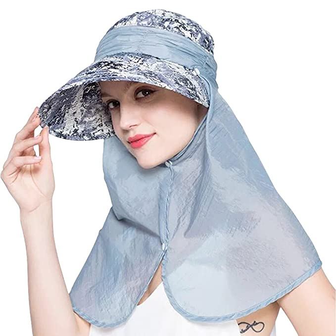 Multi Style Women s Wide Brim caps with Neck Flap b3a0521f0b
