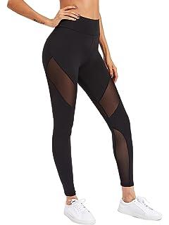 259e53aca2 SweatyRocks Women's Stretchy Skinny Sheer Mesh Insert Workout Leggings Yoga  Tights