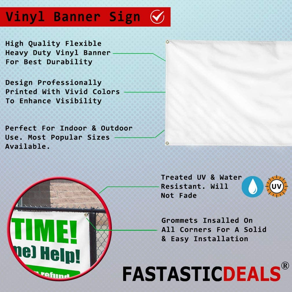 Vinyl Banner Multiple Sizes 50/% Off Red Background Blue Business Outdoor Weatherproof Industrial Yard Signs 8 Grommets 48x96Inches