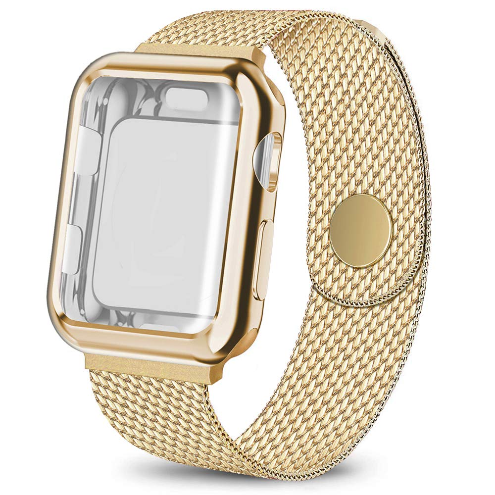 AdMaster Compatible for Apple Watch Band 38mm, Stainless Steel Mesh Sport Loop with Screen Protector Compatible for iWatch Series 1/2/3 Yellow Gold by AdMaster