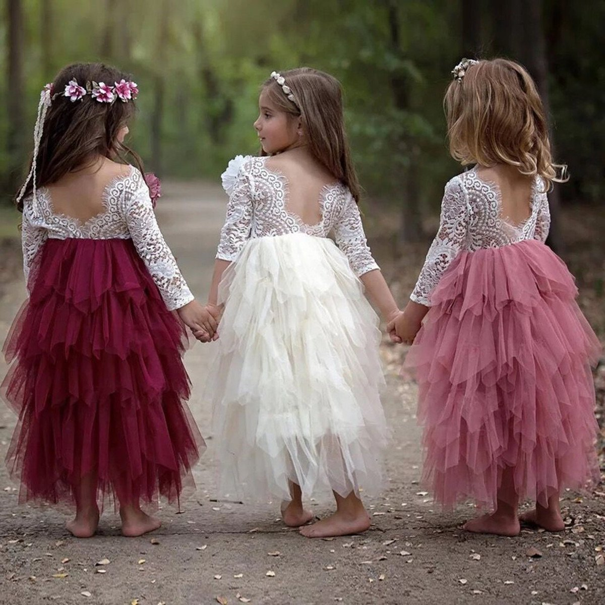 Little Girls Lace Backless Dress Baby Flower Girl Princess Lace Back Tutu A-line Party Dresses (Pink Long Dress, 2-3Years) by Titanos (Image #3)