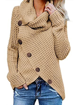 7652c04c17166 BLENCOT Women Sweaters Turtleneck Asymmetric Hem Wrap Plain Basic Long  Sleeve Cozy Cable Knit Sweaters Jumper
