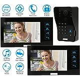 "KKmoon 7"" Video Portero Interfono Intercom (1000TVL Cámara de Vigilancia, 2 Monitor TFT LCD, Botón Táctil, 4 Modos, 5 Tarjetas ID, Visión Nocturna)"