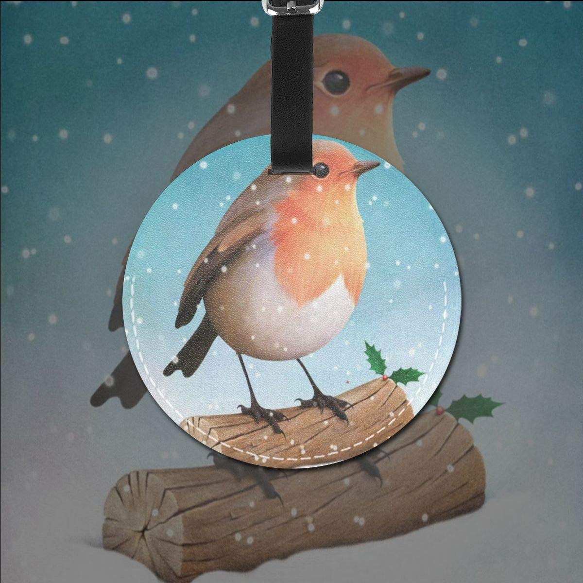 Round Luggage Tags Christmas Snowman PU Leather Suitcase Labels Bag