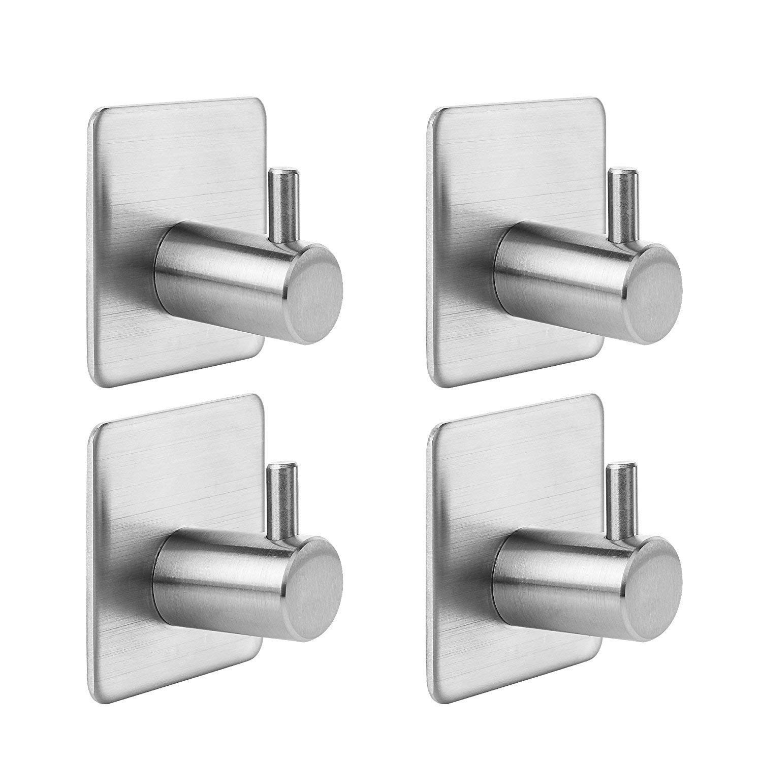 Geekercity 4 Pack Towel Hooks, SUS304 Stainless Steel Self Adhesive Coat Towel Robe Hat Clothes Single Hook for Bedroom Bathroom Kitchen Toilet Cabinet Hotel Heavy Duty Modern Wall Mounted Brushed