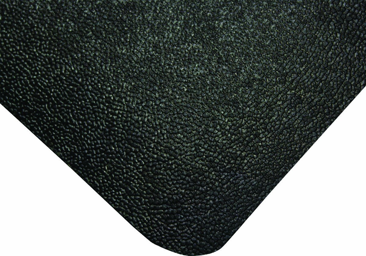Wearwell Natural Rubber 447 UltraSoft WeldSafe Anti-Fatigue Beveled Mat, for Dry Areas, 3' Width x 5' Length x 9/16'' Thickness, Black