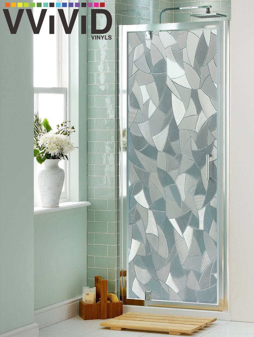 VViViD Clear Shard Mosaic Static Cling Privacy Film Decorative Window Vinyl Decal for Bathroom, Kitchen, Home, Office Easy DIY Easy-Install Adhesive-Free (36'' x 6.5ft)