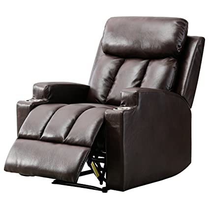 BONZY Recliner Chair Contemporary Theater Seating Two Cup Holder Leather  Cover Living Room Lounge Chair
