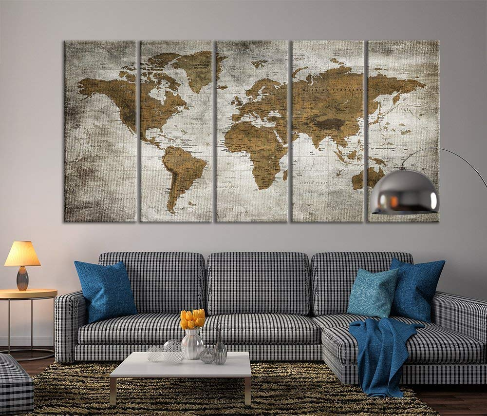 Wall Art Canvas Prints.Modern Large Wall Art Vintage Old World Map Map Push Pin Canvas Print For Wall Decor Wall Art Canvas Print Antique Travel Map For Home And Living