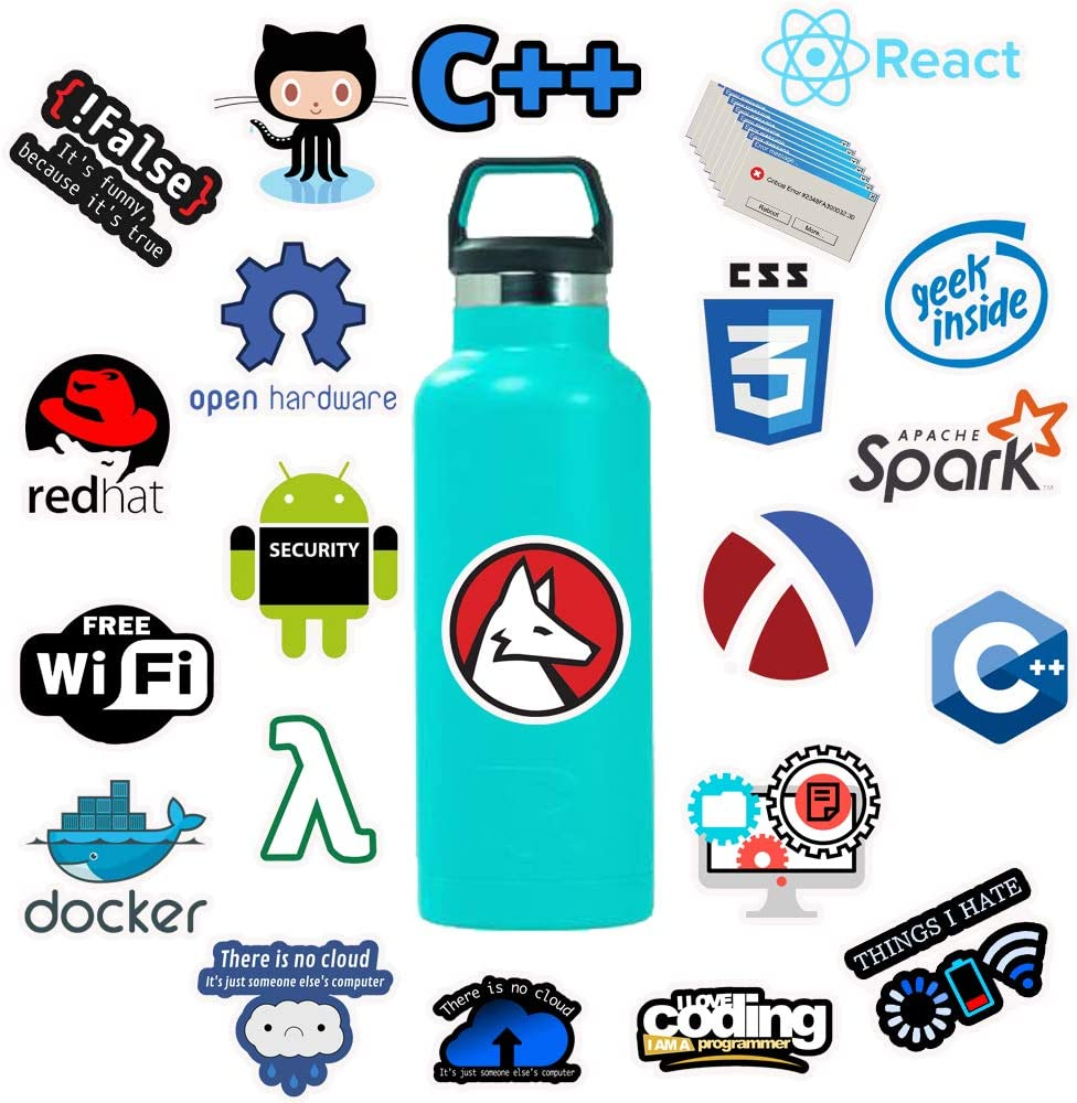 Laptop Stickers for Developer 50 Packs, Funny Vinyl Stickers for Programmer, Software Developer, Engineers, Hackers, Geeks and Coders (Sticker-B)