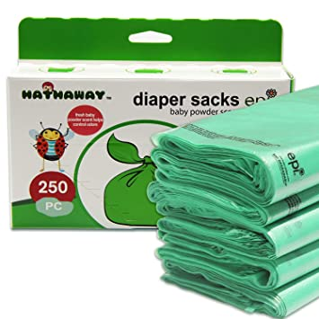 Sassy Small Diaper Bags, Tie Baby Disposable Diaper Sacks Bags, 250 Counts, Safe & Biodegradable, with...