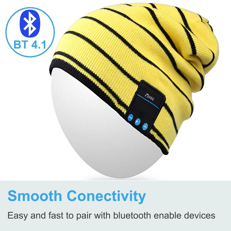 Blanco Rotibox invierno sombrero tira Bluetooth Beanie correa de casco con auriculares inal/ámbricos Mic manos libres de la bater/ía recargable