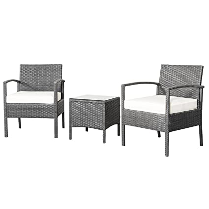 Patio Chairs, Swings U0026 Benches NEW Rattan Wicker Furniture Set 3PC  Cushioned Outdoor Garden Seat