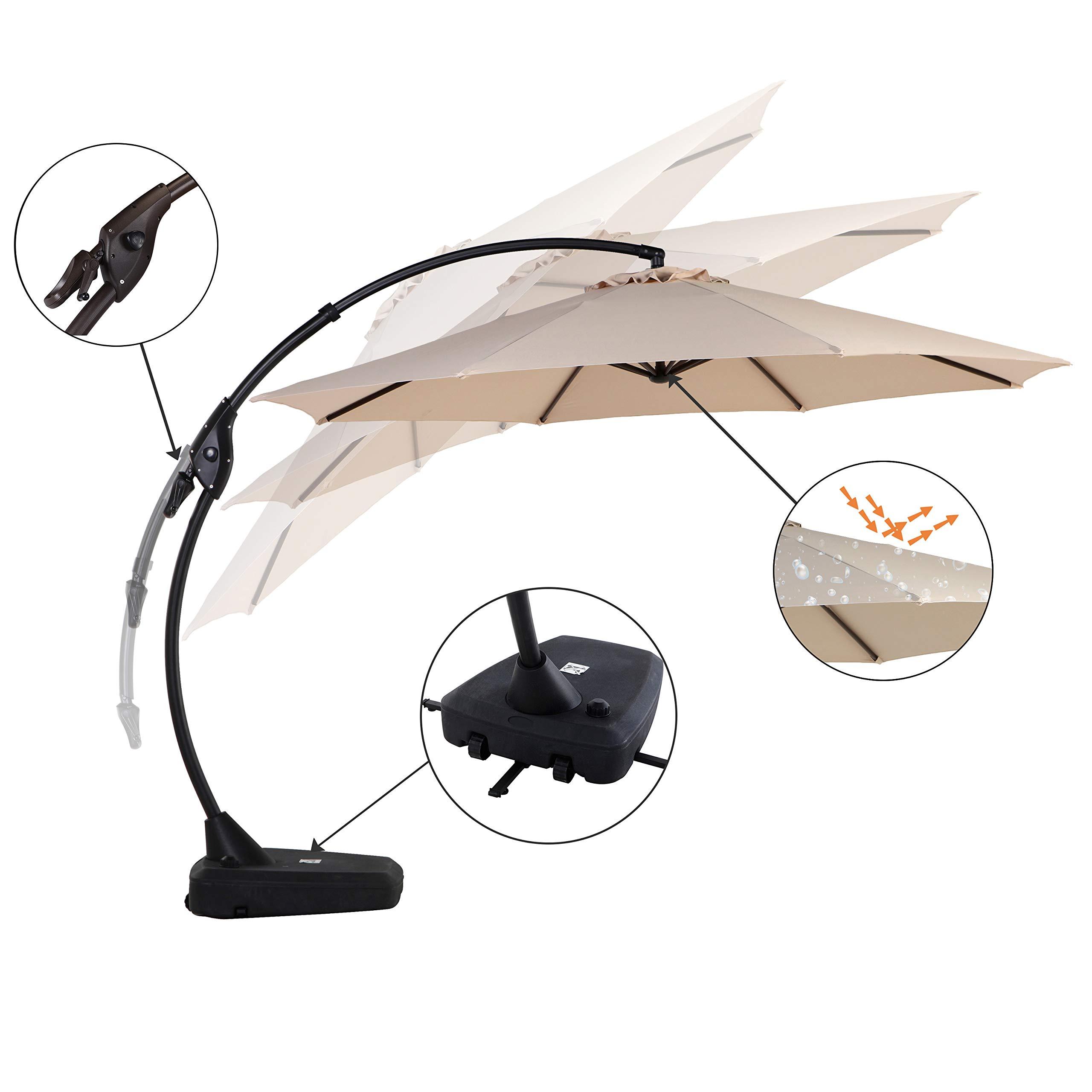 Grand Patio Napoli Deluxe 11 FT Curvy Aluminum Offset Umbrella, Patio Cantilever Umbrella with Base, Champagne by Grand Patio (Image #4)