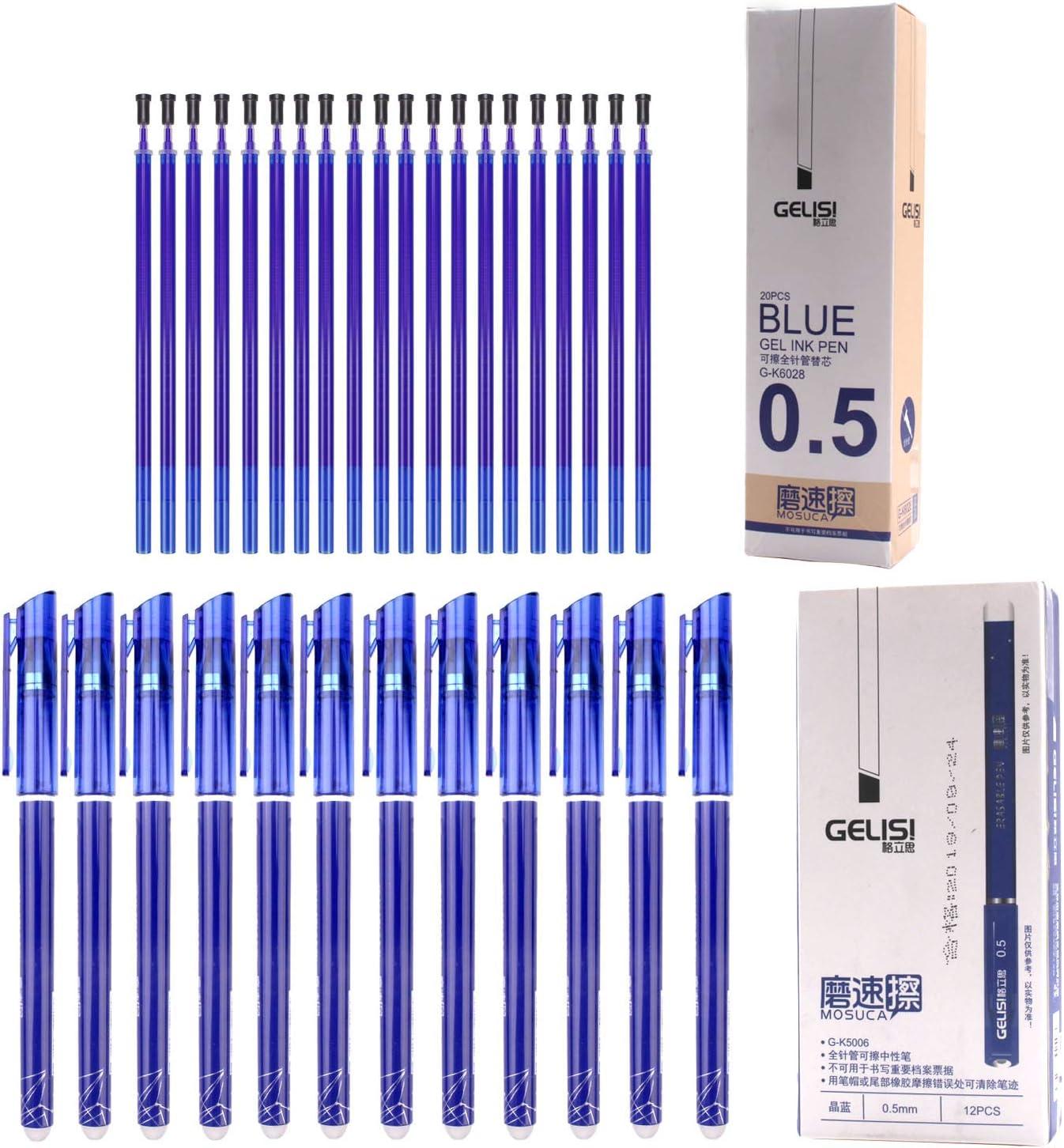 12pcs Gelschreiber Gelstifte Gel Kugelschreiber Löschbarer Gel Stifte 0.5mm Blau