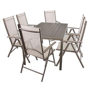 Amazon.de: 7tlg. Gartengarnitur Set Sitzgarnitur Aluminium Polywood ...