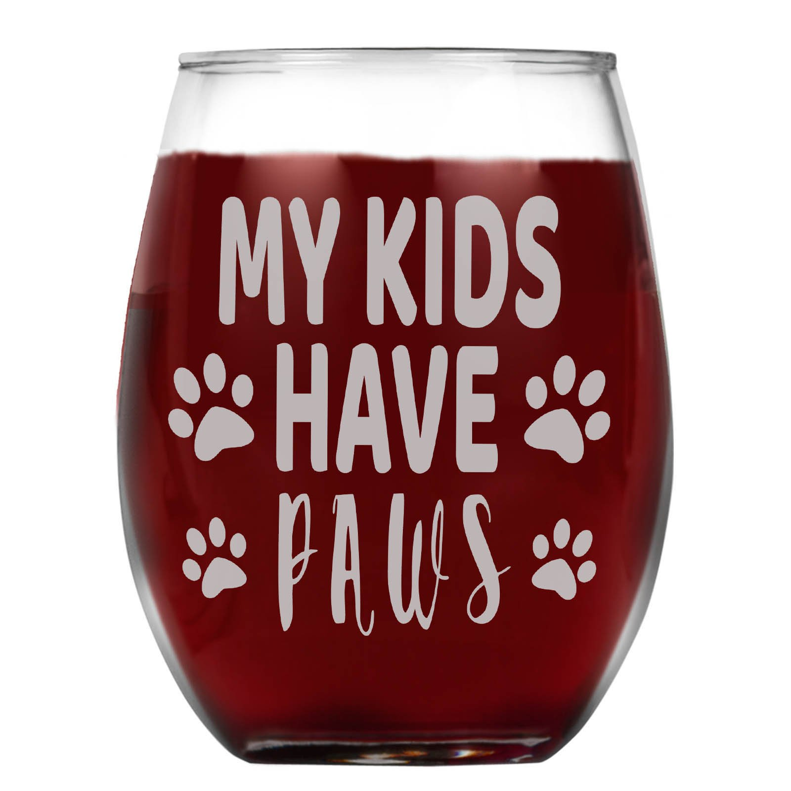 Shop4Ever My Kids Have Paws Laser Engraved Stemless Wine Glass ~ Gift for Animal Parents ~ (15 oz, Stemless)