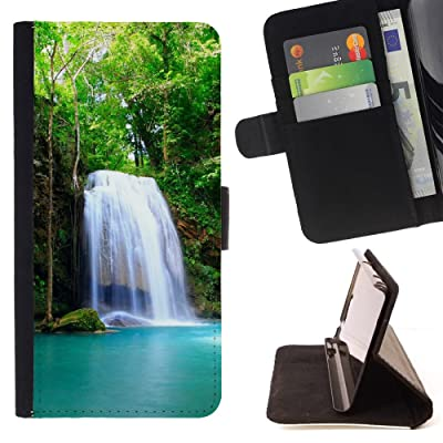 FJCases Cascadas Naturaleza Río Agua Carcasa Funda Billetera con Ranuras para Tarjetas y Soporte Plegable para HTC U11