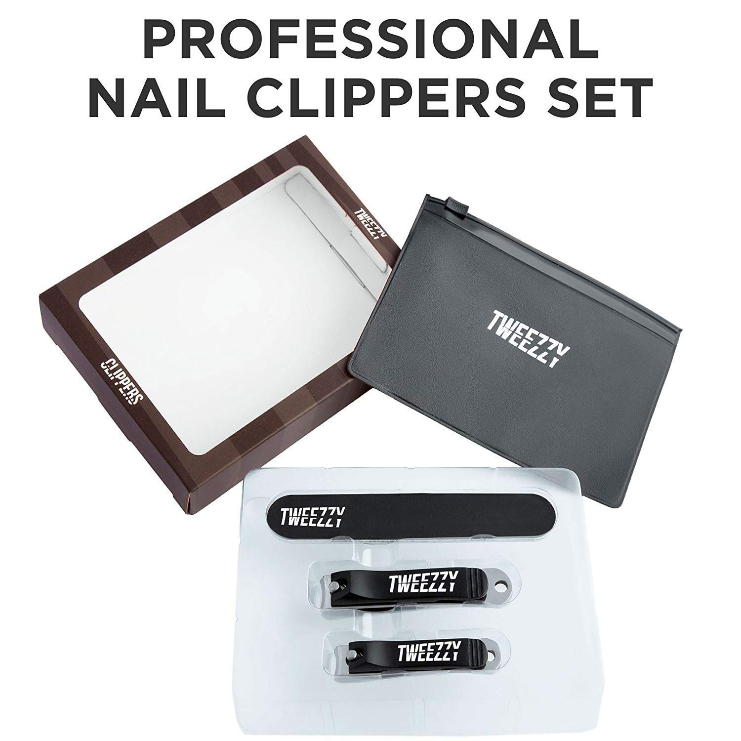 TWEEZZY Professional Grade Nail Clippers Set - Toenail Clipper for Thick Nails, Fingernail Clipper, Emery Board for Filing & PVC Storage Bag - Luxurious Manicure Set for Men & Women - Sharp Blades