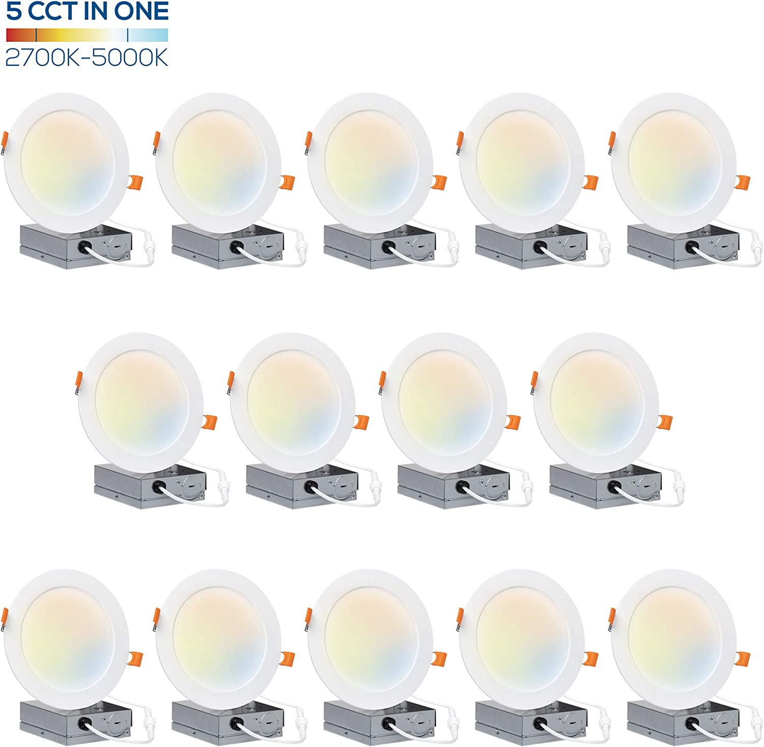 Hyperikon 6 inch LED Recessed Lighting Selectable Color Temperature 5CCT 2700K-5000K, 14W Slim Downlight with Junction Box, UL, Energy Star, 14 Pack