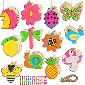 60 Pieces Unfinished Wooden Cutouts, Aweyka 12 Styles Butterfly Bee Wood Slices Flower Unfinished Wood Cutouts Blank Wooden Paint Crafts for Kids Painting, DIY Crafts Home Decoration Craft Project