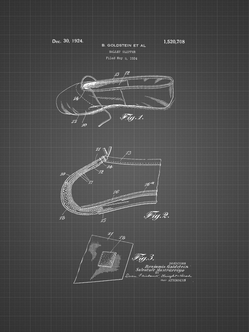 Framable Patent Art The Original Ready to Frame D/écor Ballet Slipper Dance Shoe Footwear 8in by 10in Patent Art Poster Print Black Blueprint PAPXSSP50BB