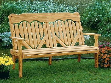 Phenomenal Amazon Com Pine High Back Heart Outdoor Wood Bench Machost Co Dining Chair Design Ideas Machostcouk