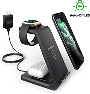 Quezqa Wireless Charging Stand – 3 in 1 Fast Wireless Charger – Qi Charging Station Dock Compatible with AirPods Pro Apple Watch Series 5 4 3 2 iPhone 11 Pro Max Xs X Xr 8(with QC 3.0 Adapter) (Black)