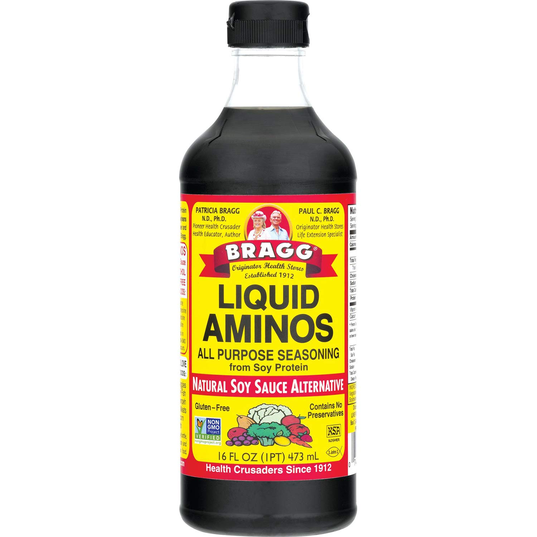 Bragg Liquid Aminos All Purpose Seasoning – Soy Sauce Alternative – Gluten Free, No GMO's, Kosher Certified, 16 Ounce