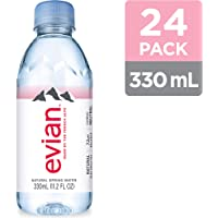 evian Natural Spring Water, One Case of 24 Individual 330 ml, Mini-Bottles of Naturally Filtered Spring Water,11.2 Fl Oz (Pack of 24)
