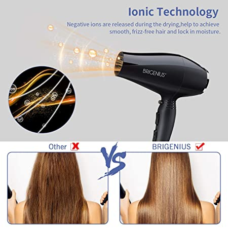 1875 watt Professional Salon Hair Dryer With AC Motor For Faster Drying Maximum Shine – High safety ETL Certified Hot Tool Dryer. Ionic Blow Dryer For Frizzy Curly Hair With Diffuser Concentrator