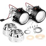 Nilight - Mini lente proyector de 2,5 pulgadas para faros delanteros de foco H1, cambio de faros personalizado: chapado…