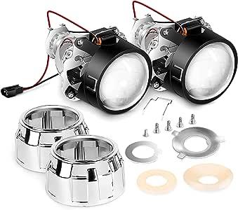 Nilight - Mini lente proyector de 2,5 pulgadas para faros delanteros de foco H1, cambio de faros personalizado: chapado en cromo Shround.