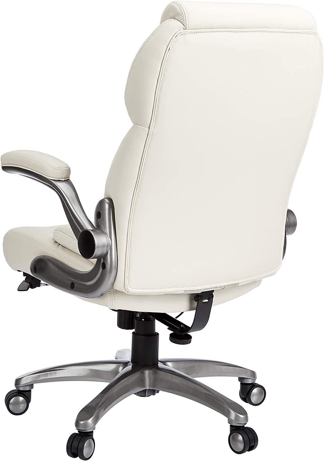 Basics Extra Comfort High-Back Leather Executive Chair with Flip-Up Arms and Lumbar Support