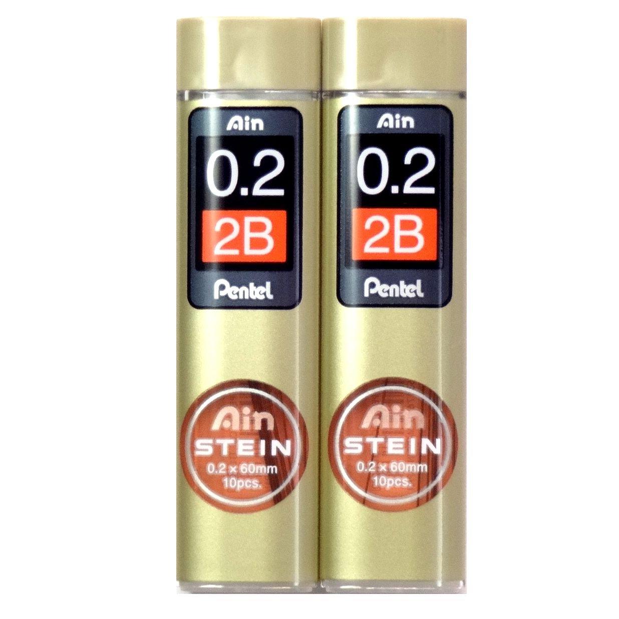 Pentel Ain Stein 20 Minas (2 Tubos) 0.2mm 2B