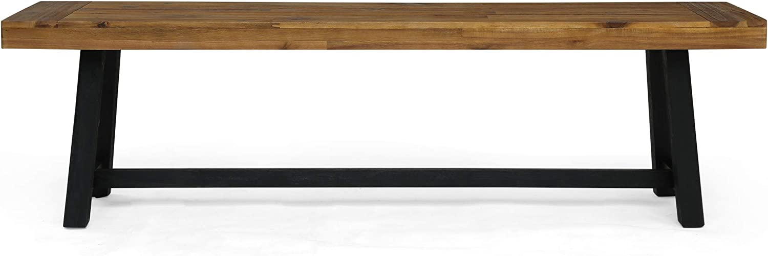 Christopher Knight Home 306036 Toby Outdoor Acacia Wood Bench, Sandblast Teak Finish and Black