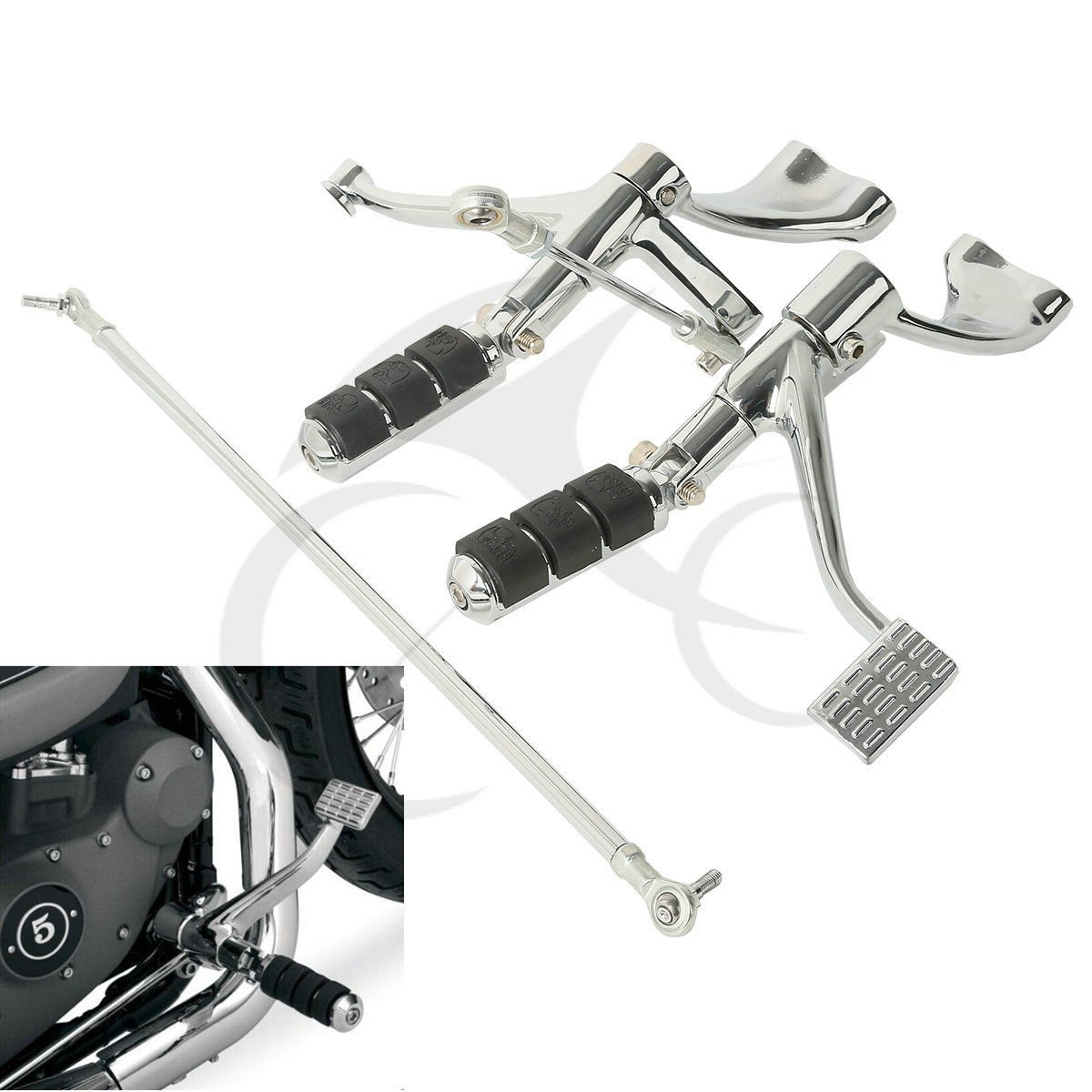 TCMT Motor Chrome Forward Controls Pegs Levers Linkages For Harley Sportster 883 Iron (XL883N)2009 10 11 12 2013 Sportster 883 Low(XL883L) 2005 06 07 08 09 2010