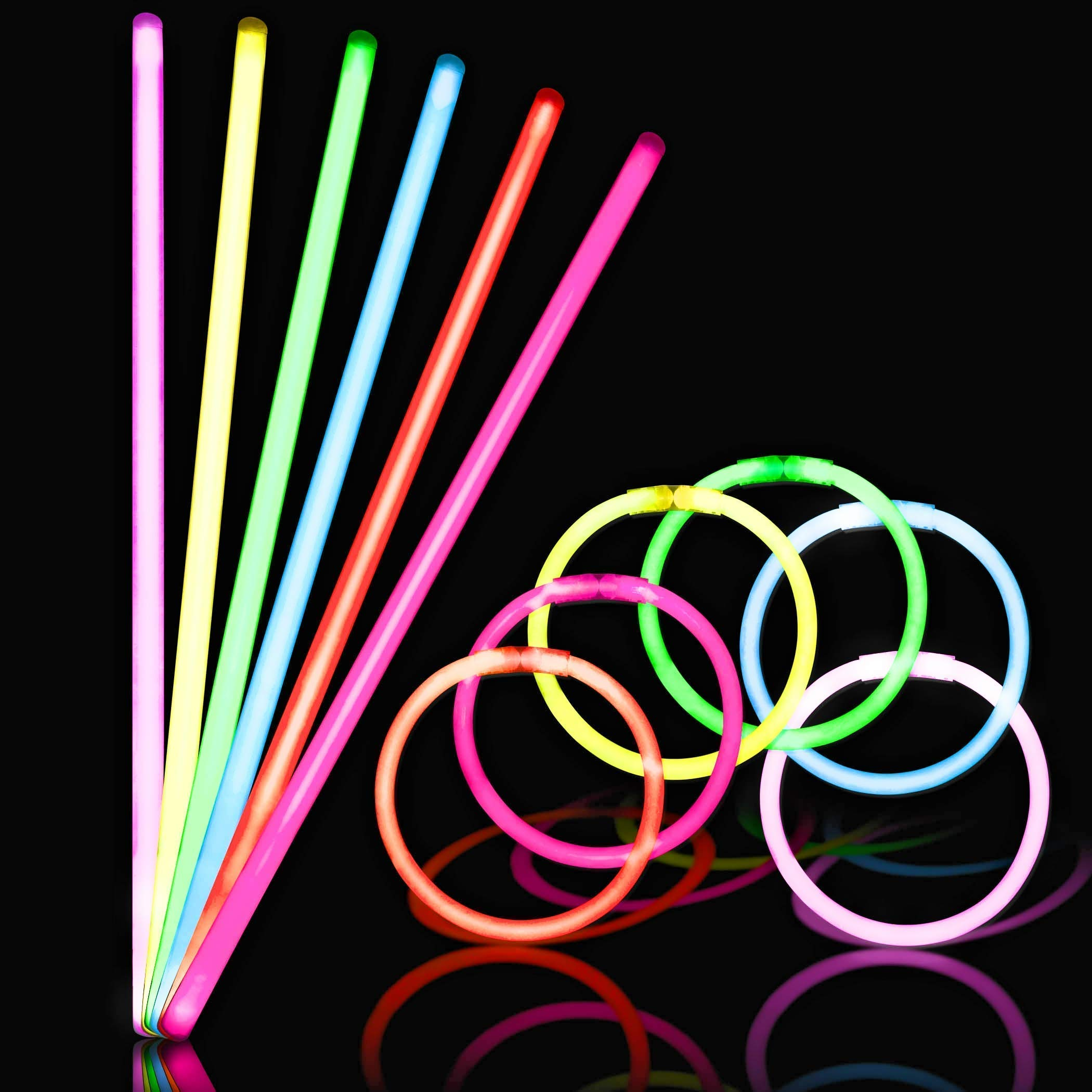 150 Ultra Bright Glow Sticks - Total 300 Pcs - 8'' Necklaces And Bracelets Glow Stick With Connectors - Bulk Party Pack Ultra Bright Glowsticks - 10 Hour Duration - Mixed Colors In 3 Tubes by Glowing U.S. inc (Image #1)