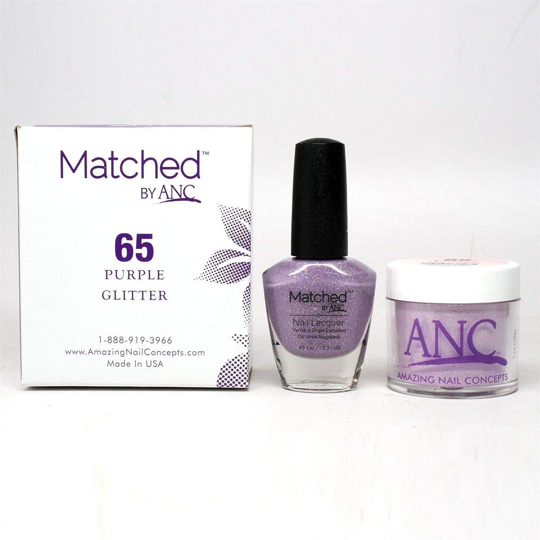 ANC Amazing Nail Concepts Matched kit # 65 Purple Glitter