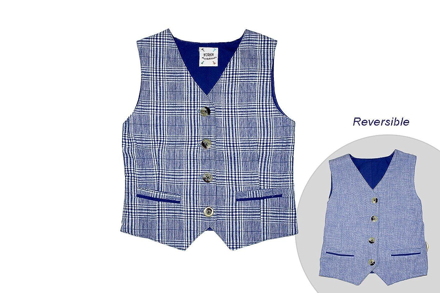 FORE! Little Boys Linen /& Plaid Reversible Vest