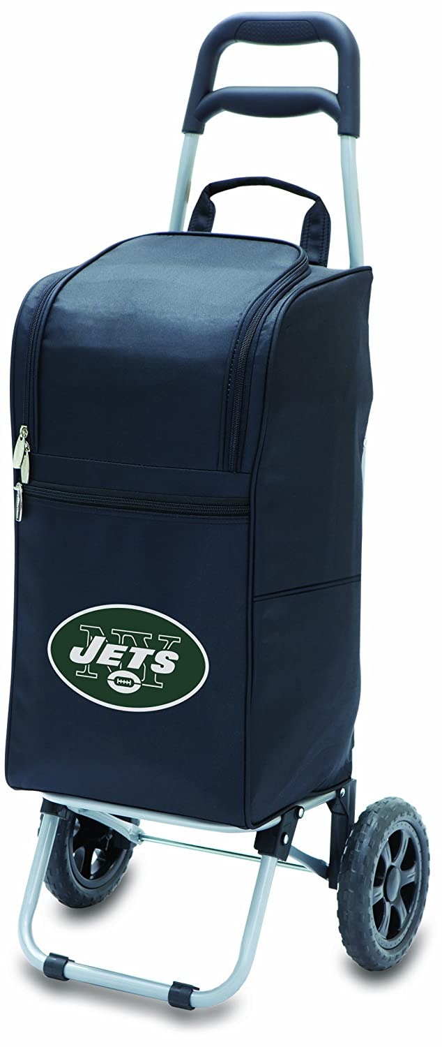 PICNIC TIME NFL New York Jets Insulated Cart Cooler with Wheeled Trolley Black